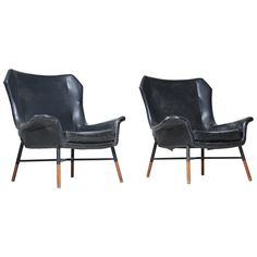Rare Pair of BBPR 'Giulietta' Lounge Chairs for Arflex | From a unique collection of antique and modern lounge chairs at https://www.1stdibs.com/furniture/seating/lounge-chairs/