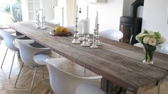 Gaia plank tables are handmade from reclaimed wood. We handmade and customize plank tables for individual needs. Dining Room Inspiration, Interior Inspiration, Plank Table, Conference Table, Dining Table Chairs, Florida Home, Recycled Wood, Wooden Tables, Diy Table