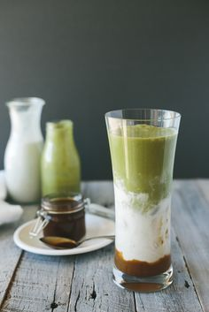 Iced Matcha and Salted Caramel Latte. Vegan and paleo friendly. Gluten-free and dairy-free.