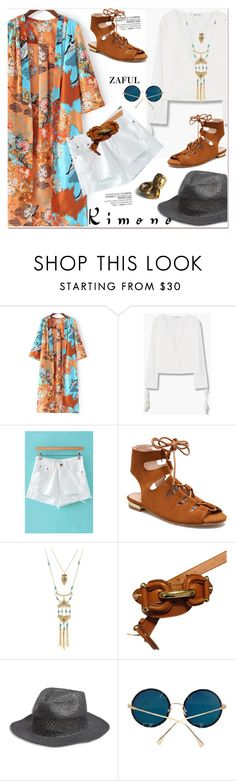 """Kimono Cool 2"" by paculi ❤ liked on Polyvore featuring MANGO, Burberry, Lucky Brand, kimonos and zaful"