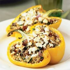 Stuff brightly colored bell pepper halves with a Mediterannean-inspired lamb and couscous filling. This dish is perfect for a light summer supper.