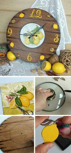 How to make bright wall clock decor. Click on image to see step-by-step tutorial