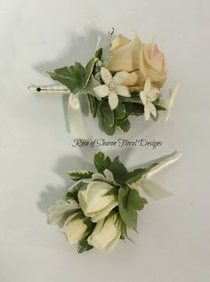 Rose and Stephanotis Boutonnieres, Rose of Sharon Floral Designs