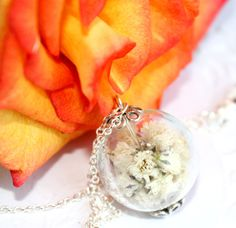 Terrarium Necklace of real flowers Handmade Botanical Jewelry from dried flower white Bridesmaid Glass nature Gift Wedding summer spring (17.90 USD) by SweetyLifeShop