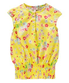 Look at this Room Seven Yellow Blossom Cap-Sleeve Top - Toddler & Girls on #zulily today!