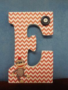 Wooden Letter - Sock Monkey Room Decor - Red Chevron