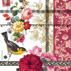 """Beverage Napkin Rose Lace Design by ppd. $5.95. Stylish, colorful paper cocktail/beverage napkins. Made in Northern Europe. Perfect for parties, bridal showers, coffee & tea. Vibrant bird & floral collage design. Environmentally friendly. Highest quality paper cocktail/beverage napkins. Folded size 5""""x5"""". Printed on 4 sides with water-based inks. Conservation-friendly, bio-degradable & recyclable.  PPD is certified by the Forest Stewardship Council."""