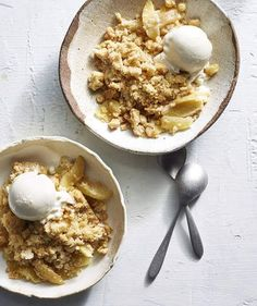 "Apple Streusel Dump Cake | To be honest, we'd liken this ""cake"" to an amped-up mega-delicious apple crisp. The base is made with baking apples, cinnamon, and a squeeze of lemon juice for balance, just like pie filling. In the spirit of dump cakes, the fruit mixture is covered with a crispy topping that you quickly dump together (we added some rolled oats for texture, plus cinnamon and ginger for oomph). For a finishing touc..."