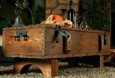 Large Rustic Wood Pine Chest Trunk Blanket Box Vintage Coffee Table Cottage 14A
