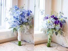 blue hydrangea bouquet with purple flowers www.nadyafurnari.com