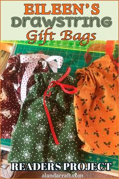 Our Readers Project s are these cute drawstring gift bags by Eileen. She made her gift bags in assorted colors from our free Drawstring Gift Bag Tutorial. They are easy to sew and make lovely gifts for any occasion and great stocking fillers at Christmas. Diy Sewing Projects, Sewing Projects For Beginners, Sewing Crafts, Diy Gifts For Kids, Easy Diy Gifts, Quilting Tutorials, Sewing Tutorials, Diy Cards Thank You, Gift Card Presentation