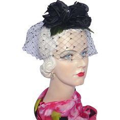 Vintage 1960s Skol Nips Whimsy Hat Black Dahlias available at My Vintage Clothes Line on Ruby Lane