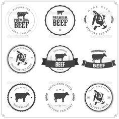 Reihe von Premium-Rindfleisch-Etiketten, Abzeichen und Design-Elemente isoliert auf weißem Hintergrund