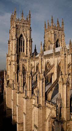 flying buttresses on York Minster from South Transept.