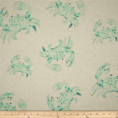 Golding Bluecrab Blend Aqua from @fabricdotcom  Screen-printed on a linen/cotton blend fabric, this versatile medium/heavyweight fabric is perfect for window treatments (draperies, valances, curtains and swags), toss pillows, duvet covers, pillow shams, slipcovers and upholstery. Colors include shades of green on an oatmeal background.