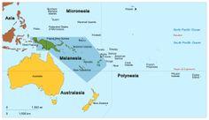 MELANESIA - A subregion of Oceania, extending from the western end of the Pacific Ocean; includes the four countries of Vanuatu, the Solomon Islands, Fiji & Papua New Guinea. Tropic Of Capricorn, Federated States Of Micronesia, West Papua, Solomon Islands, Marshall Islands, Tonga, France, Guam, Vanuatu
