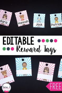 Such a cute way to start the year in your classroom with reward tags. This freebie includes editable reward tags in 14 different styles to be used as a nametag for the first tag on your students' necklaces. Teaching First Grade, Teaching Kindergarten, Preschool Learning, Fun Learning, Classroom Freebies, Classroom Ideas, Student Rewards, Welcome To School, Brag Tags