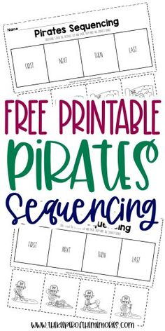 Encourage your little kids to be creative thinkers and problem solvers with these Free Printable Sequencing Activities for Preschoolers. Use them with your next island preschool theme or even have a pirate adventure! Either way, you're definitely going to want to download yours today! #sequencing #pirates #preschool #kindergarten #sequencingworksheets #piratesworksheets #preschoolworksheets #kindergartenworksheets Sensory Activities Toddlers, Kids Learning Activities, Kindergarten Learning, Kindergarten Worksheets, Preschool Printables, Free Printables, Printable Worksheets, Sequencing Worksheets, Craft Projects For Kids
