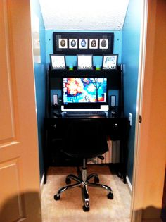 Coat closet under the stairs transformed into a home office nook. Small Office Design, Tiny Office, Closet Office, Office Nook, Home Office Storage, Home Office Space, Home Office Design, Office Designs, Office Ideas