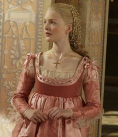 Lucrezia. Dress, snood, caul, jewellery, fabrics. The Borgias, television, TV, costume drama, design, textiles