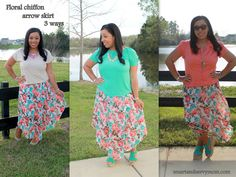 Floral chiffon arrow skirt from rue21. 3 modest styling ideas - smartandsavvymom.com