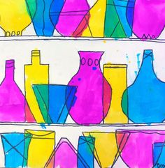 Middle School Colored Glassware Middle School Colored Glassware,Color Theory Art Project Ideas for Kids This dynamic middle school lesson fully supports the element of color theory and the fascinating history of colored glassware art. Line Art Projects, Middle School Art Projects, Color Art Lessons, Art Lessons For Kids, Kindergarten Art Lessons, Art Lessons Elementary, Line Art Lesson, Classe D'art, Ecole Art