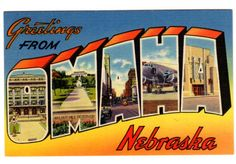 """Wonderful vintage large letter linen postcard, """"Greetings from Omaha Nebraska."""" This 1940s travel postcard features the various buildings, street scenes, and an airplane inside of """"Omaha"""" spelled out"""