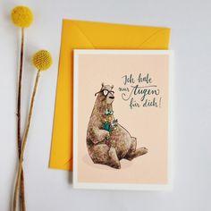 Liebe & Freundschaft - Flirtbär – Grußkarte mit Umschlag - ein Designerstück von Frau-Annika bei DaWanda