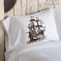 Nautical Sail Ship Boat Crew old Boat Anchor scene sailor sailing flags PILLOWCASE sail Pillow case decor room bedroom bedding covers