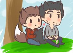 Sterek for my dear soulmate I made Stiles a cutie fox o vo Sorry I kinda rush I didn't even get to finish my laptop turned off I lost what I done and no. Sterek art trade U vU Teen Wolf Art, Teen Wolf Ships, Teen Wolf Funny, Five Nights At Freddy's, Teen Wolf Derek Hale, Sterek Fanart, Wolf Stuff, Geek Out, Cartoon Drawings