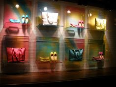 Cole Haan - coloured chalk brick wall, bright & perfect to show off the summer accessories!