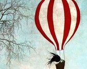 Up in the sky - A striped hot air balloon going up in the blue sky - Illustration print (4.7x4.7)