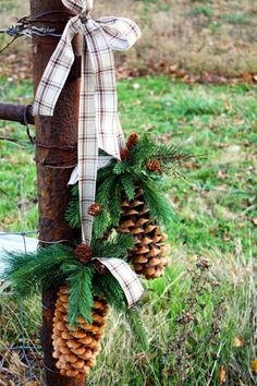 Home Decor Ideas: Rustic Winter / Christmas Decor pinecones with greens and a plaid ribbon Noel Christmas, Primitive Christmas, Country Christmas, Christmas Projects, Winter Christmas, All Things Christmas, Christmas Wreaths, Christmas Decorations, Xmas