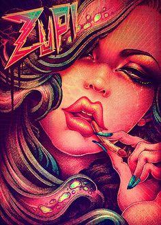 Ilustración, Pin-ups y tatuajes de ONEQ. : ColectivoBicicleta | Revista digital /Artes visuales. ilustración y diseño Colombia y Latinoamerica