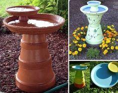 Bebedouro p pássaros feito com vasos de ceramica