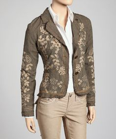 Look at this #zulilyfind! Olive Green & Taupe Frayed Sequin Blazer by PAPARAZZI #zulilyfinds