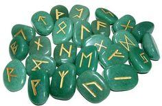 Beautiful Green Aventurine Rune stones Set - Happiness