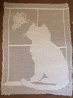 Handmade Filet Crochet blanket on Etsy, $50.00 AUD
