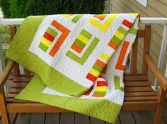 Twin Coverlet/ Throw Quilt in Juicy Citrus by ColoradoQuilts