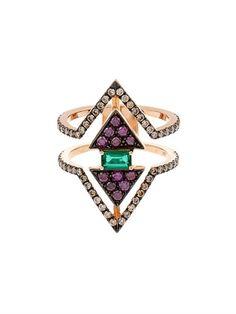 Nikos Koulis Diamond, emerald & pink-gold ring