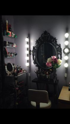 Small space and low budget but want to look glam?! My fiancé built this make shift vanity for me. I had this glass tiered table for around $40 online and then my fiancé installed lights, a ledge, put up the mirror and then added little metal carriers for nail polish and hairsprays all from ikea for around $85!! You can customize, but it's an alternative for small spaces in NYC studio apartments!