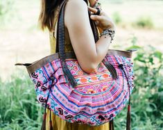One of a Kind Vintage Tote Bag for Women with Hmong Embroidered, Ethnic Shoulder Bag, Hill Tribe Beach Tote from Thailand - Chiang Mai, Look Hippie Chic, Pink Dye, Ethnic Bag, Textiles, Amazing, Boho, Bohemian Style, Tote Bag