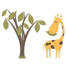 Sticker enfant : Girafe et son arbre
