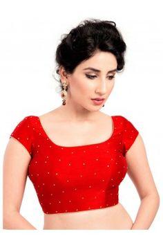 Red Fancy Silk Blouse Material  #redblouse #blouseonline #silkblouse #sareeblouse #womensfashion #fancyblouse
