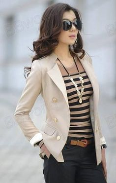 cream blazer, stripe tank, and navy pants... Nice casual dress outfit