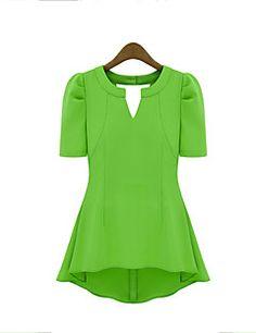 Mulheres+Camiseta+Casual+Moda+de+Rua+Verão,Sólido+Vermelho+/+Preto+/+Verde+/+Amarelo+Poliéster+Decote+em+V+Profundo+Manga+Curta+Média+–+EUR+€+12.73