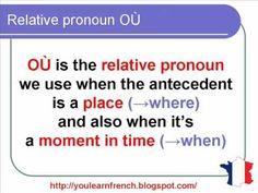 French Lesson 145 - Relative pronoun OÙ - Le pronom relatif OÙ