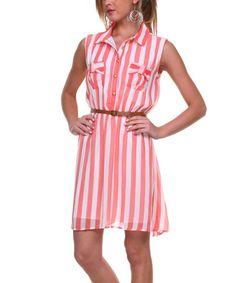 Look what I found on #zulily! Coral & White Stripe Belted Shirt Dress by Stanzino #zulilyfinds