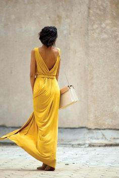 yellow low back dress