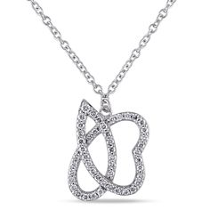 Miadora Signature Collection 14k Gold 1/2ct TDW Diamond Abstract Butterfly Necklace, Women's